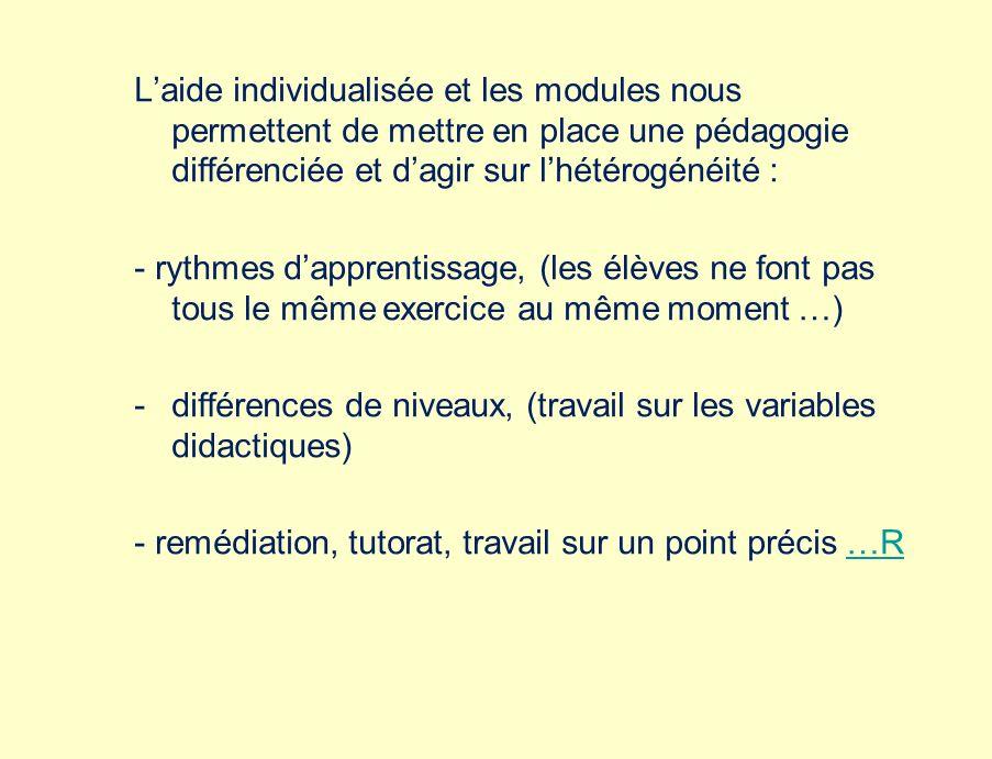Laide individualisée et les modules nous permettent de mettre en place une pédagogie différenciée et dagir sur lhétérogénéité : - rythmes dapprentissage, (les élèves ne font pas tous le même exercice au même moment …) -différences de niveaux, (travail sur les variables didactiques) - remédiation, tutorat, travail sur un point précis …R…R