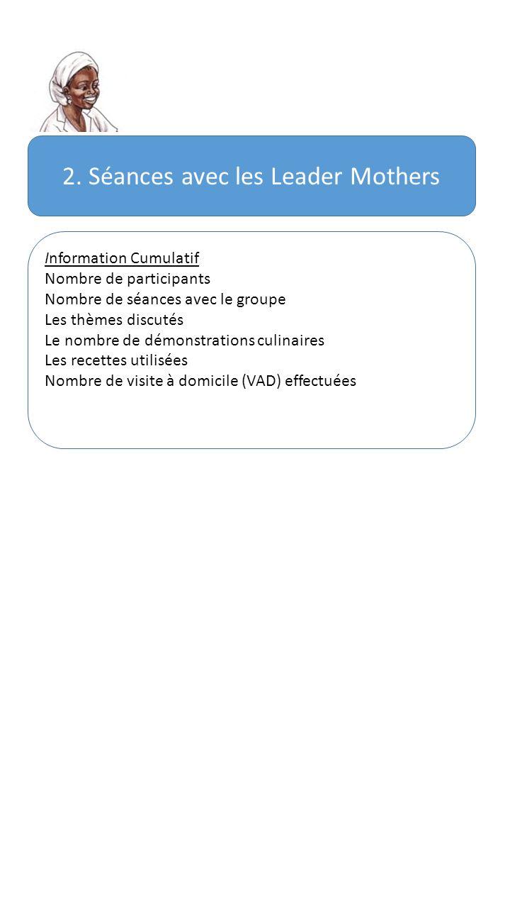 2. Séances avec les Leader Mothers Information Cumulatif Nombre de participants Nombre de séances avec le groupe Les thèmes discutés Le nombre de démo