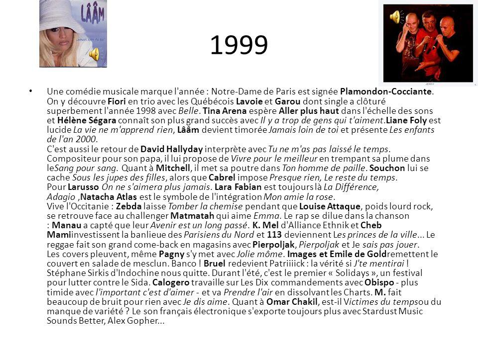 1999 Une comédie musicale marque l'année : Notre-Dame de Paris est signée Plamondon-Cocciante. On y découvre Fiori en trio avec les Québécois Lavoie e