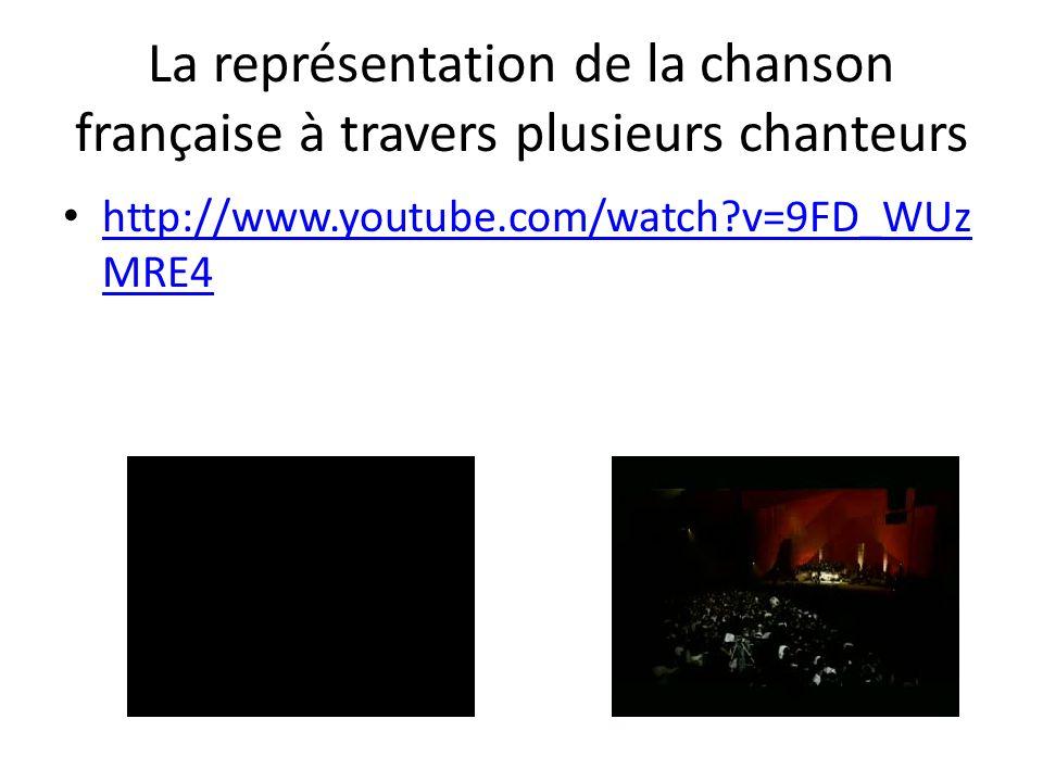 La représentation de la chanson française à travers plusieurs chanteurs http://www.youtube.com/watch?v=9FD_WUz MRE4 http://www.youtube.com/watch?v=9FD