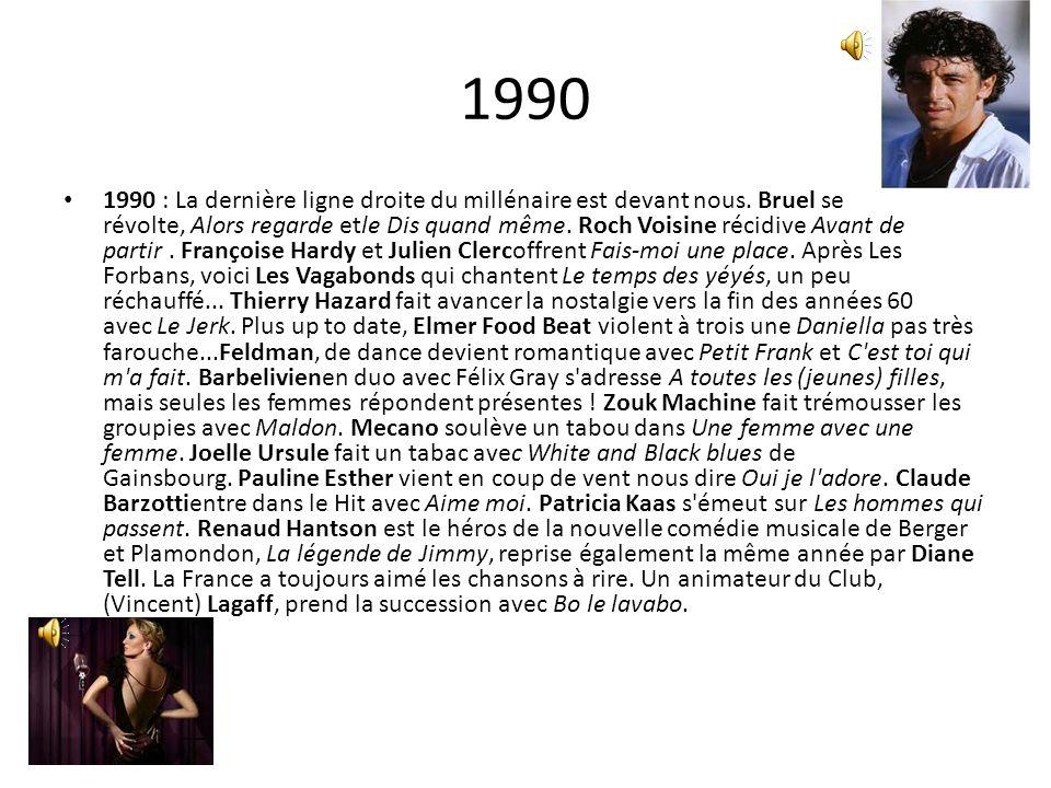 1990 1990 : La dernière ligne droite du millénaire est devant nous. Bruel se révolte, Alors regarde etle Dis quand même. Roch Voisine récidive Avant d