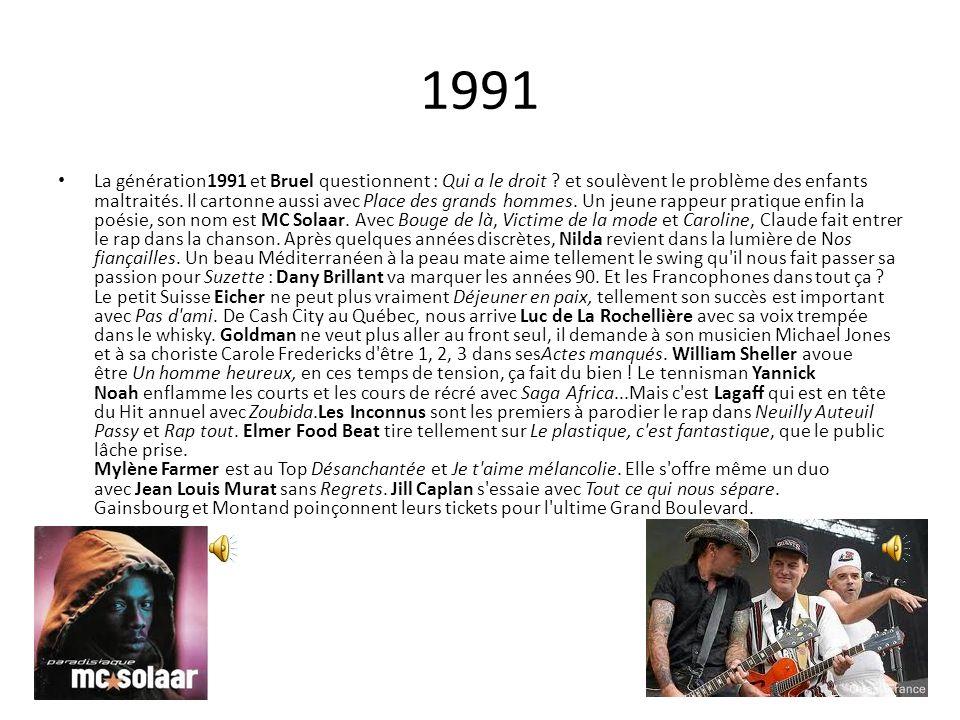 1991 La génération1991 et Bruel questionnent : Qui a le droit ? et soulèvent le problème des enfants maltraités. Il cartonne aussi avec Place des gran