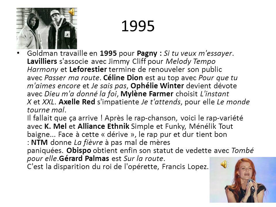 1995 Goldman travaille en 1995 pour Pagny : Si tu veux m'essayer. Lavilliers s'associe avec Jimmy Cliff pour Melody Tempo Harmony et Leforestier termi