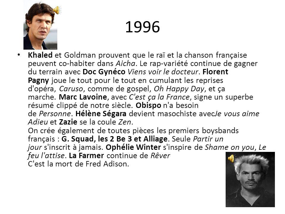 1996 Khaled et Goldman prouvent que le raï et la chanson française peuvent co-habiter dans Aicha. Le rap-variété continue de gagner du terrain avec Do