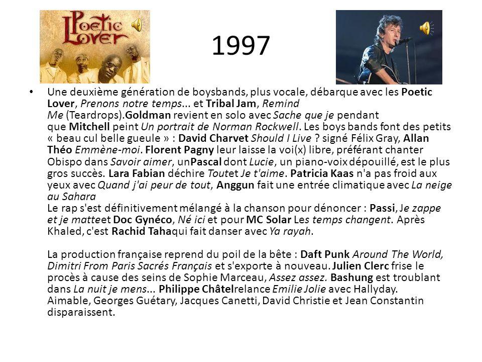 1997 Une deuxième génération de boysbands, plus vocale, débarque avec les Poetic Lover, Prenons notre temps... et Tribal Jam, Remind Me (Teardrops).Go
