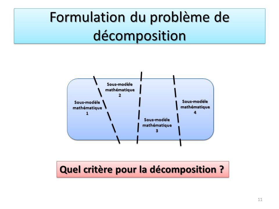 Modèle mathématique Sous-modèlemathématique1Sous-modèlemathématique2Sous-modèlemathématique3 Sous-modèlemathématique4 Formulation du problème de décom