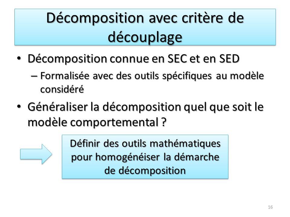 Décomposition avec critère de découplage 16 Décomposition connue en SEC et en SED Décomposition connue en SEC et en SED – Formalisée avec des outils s