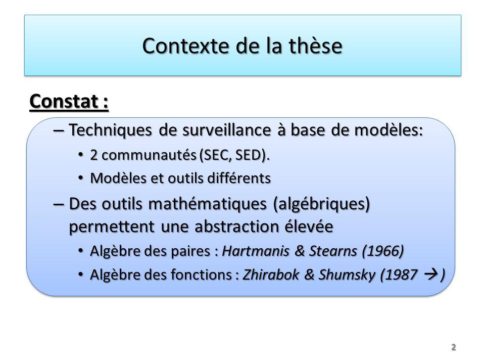 Contexte de la thèse Constat : – Techniques de surveillance à base de modèles: 2 communautés (SEC, SED). 2 communautés (SEC, SED). Modèles et outils d