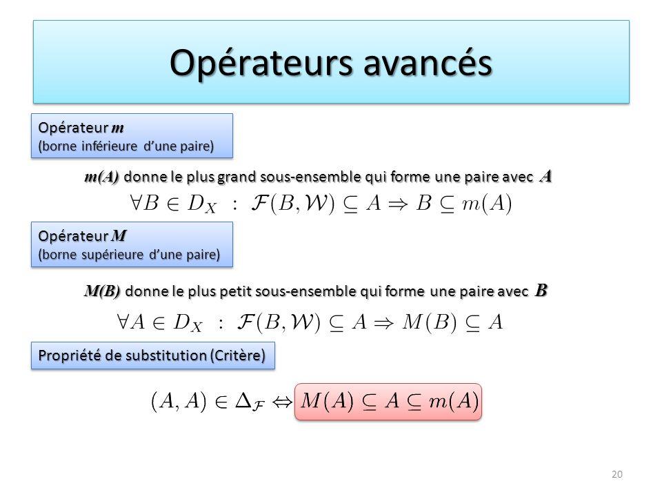 Opérateurs avancés Opérateur m (borne inférieure dune paire) Opérateur m (borne inférieure dune paire) Opérateur M (borne supérieure dune paire) Opéra
