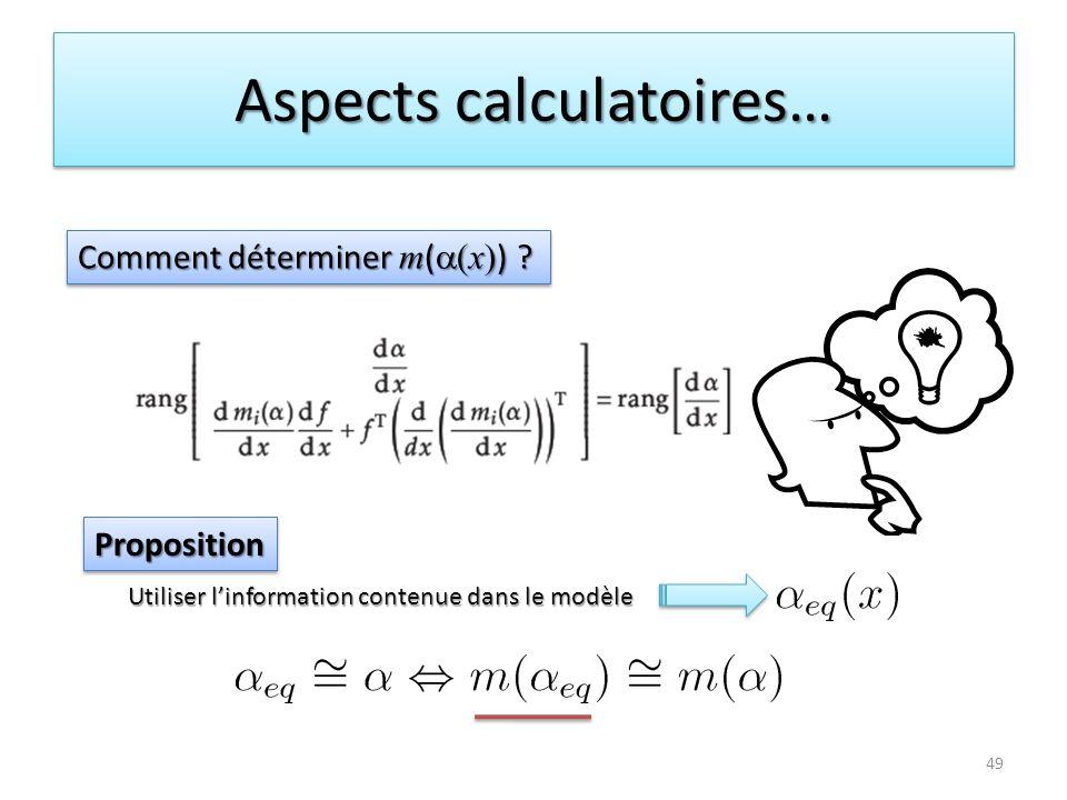 Aspects calculatoires… 49 Comment déterminer m ( x ) ? PropositionProposition Utiliser linformation contenue dans le modèle