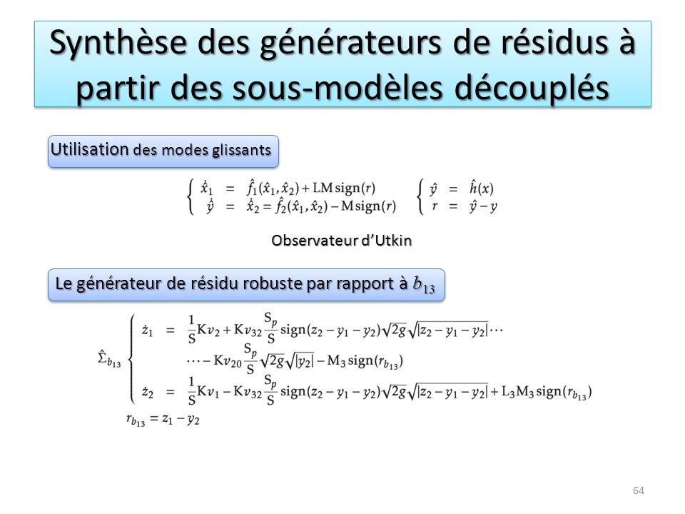 Synthèse des générateurs de résidus à partir des sous-modèles découplés Observateur dUtkin Le générateur de résidu robuste par rapport à b 13 Utilisat