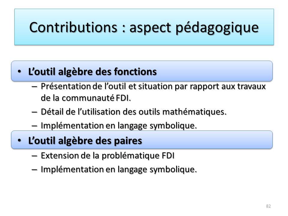 Contributions : aspect pédagogique Loutil algèbre des fonctions Loutil algèbre des fonctions – Présentation de loutil et situation par rapport aux tra
