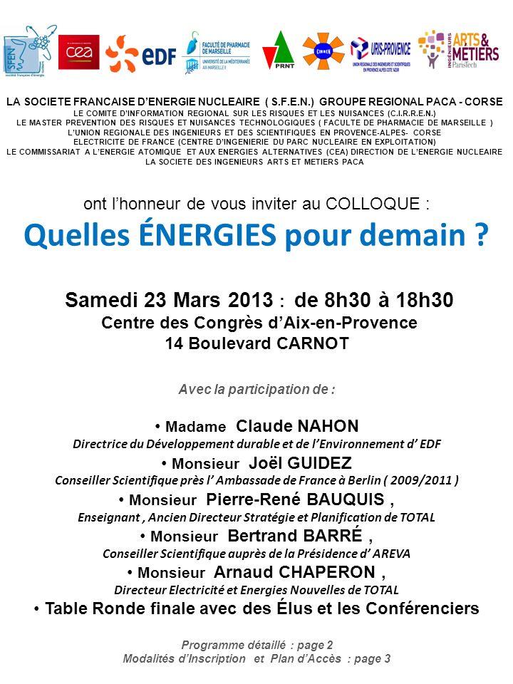LA SOCIETE FRANCAISE DENERGIE NUCLEAIRE ( S.F.E.N.) GROUPE REGIONAL PACA - CORSE LE COMITE DINFORMATION REGIONAL SUR LES RISQUES ET LES NUISANCES (C.I