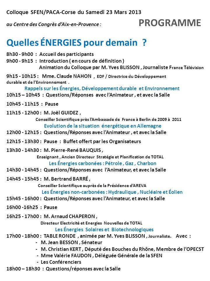 Colloque SFEN/PACA-Corse du Samedi 23 Mars 2013 au Centre des Congrès dAix-en-Provence : PROGRAMME Quelles ÉNERGIES pour demain ? 8h30 - 9h00 : Accuei