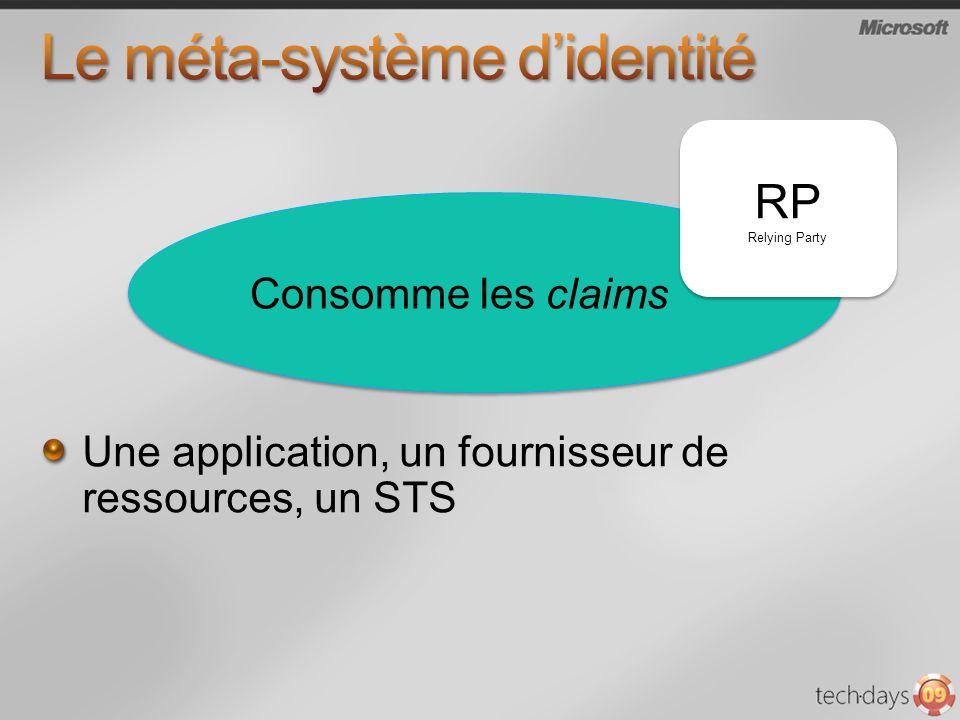 Une application, un fournisseur de ressources, un STS RP Relying Party RP Relying Party Consomme les claims
