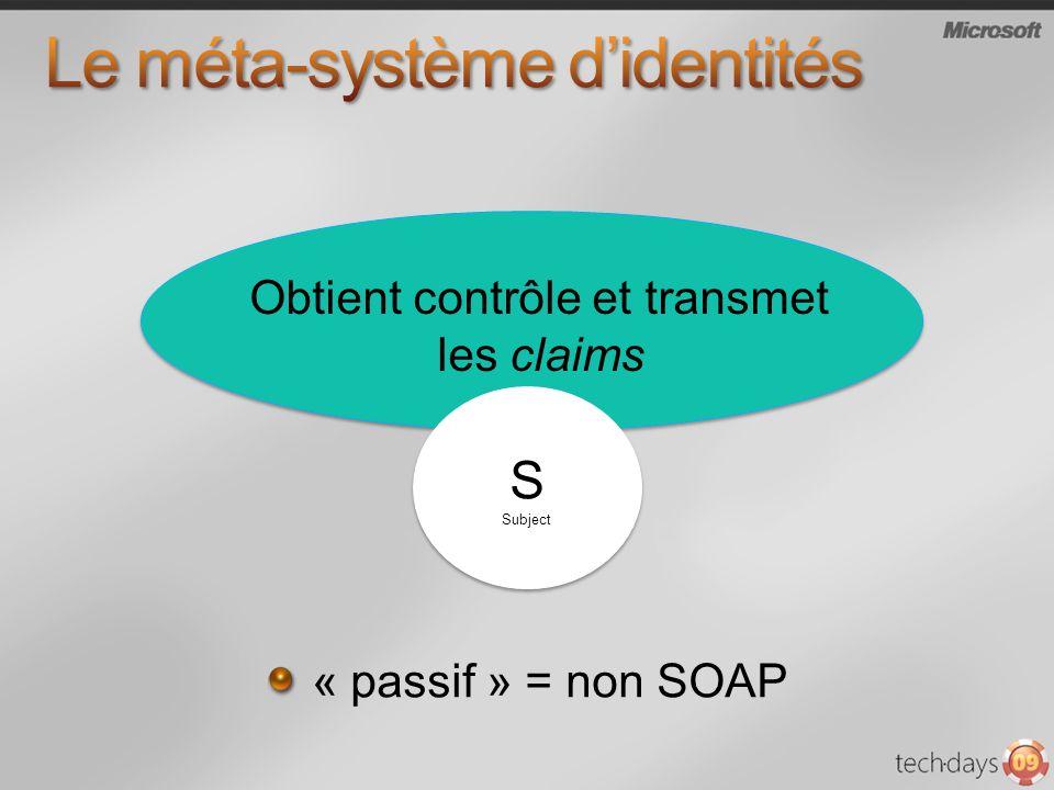 « passif » = non SOAP S Subject S Subject Obtient contrôle et transmet les claims