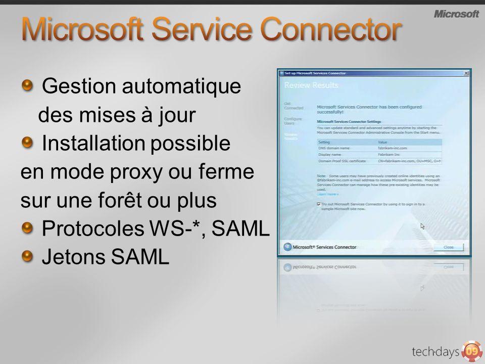 Gestion automatique des mises à jour Installation possible en mode proxy ou ferme sur une forêt ou plus Protocoles WS-*, SAML Jetons SAML