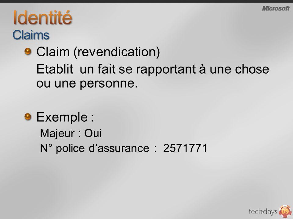 Claim (revendication) Etablit un fait se rapportant à une chose ou une personne. Exemple : Majeur : Oui N° police dassurance : 2571771