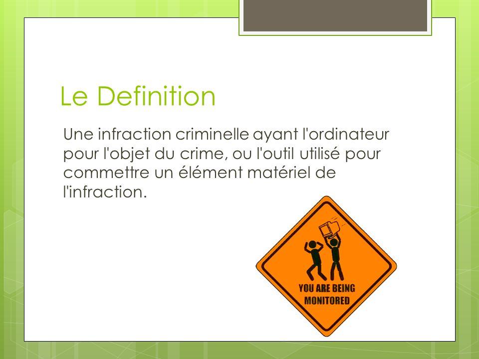 Le Definition Une infraction criminelle ayant l'ordinateur pour l'objet du crime, ou l'outil utilisé pour commettre un élément matériel de l'infractio