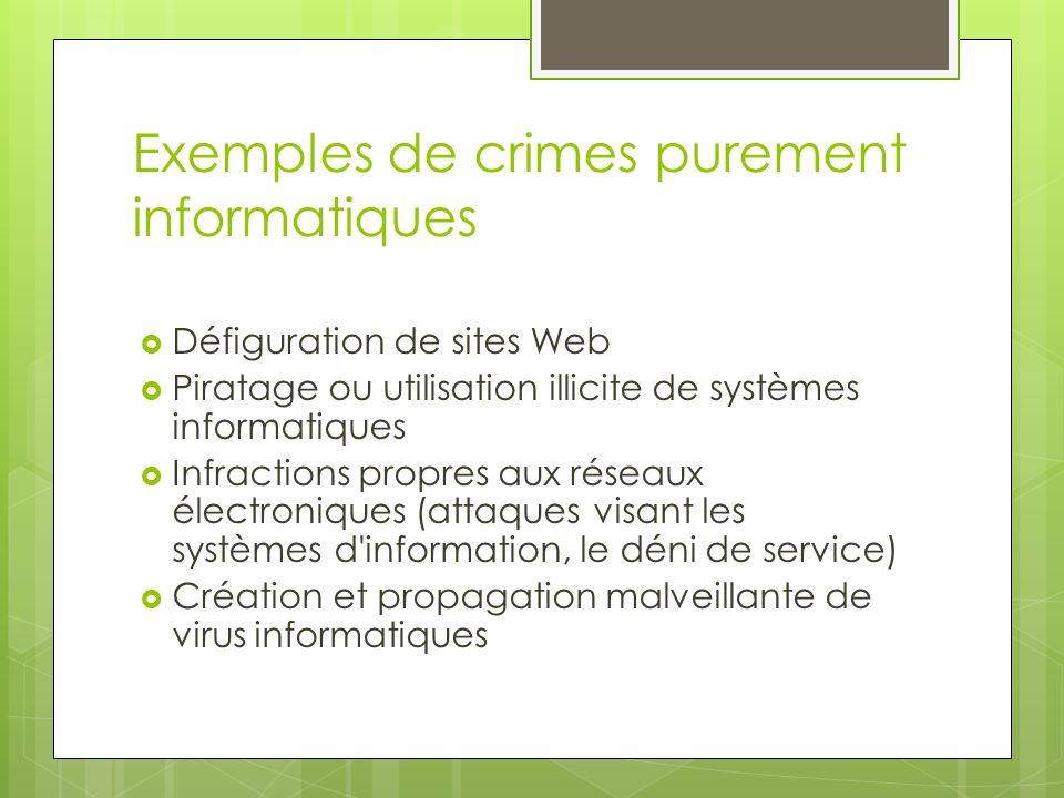 Exemples de crimes purement informatiques Défiguration de sites Web Piratage ou utilisation illicite de systèmes informatiques Infractions propres aux