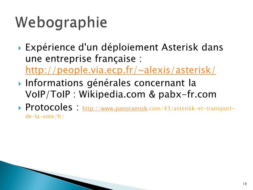 Expérience d'un déploiement Asterisk dans une entreprise française : http://people.via.ecp.fr/~alexis/asterisk/ http://people.via.ecp.fr/~alexis/aster