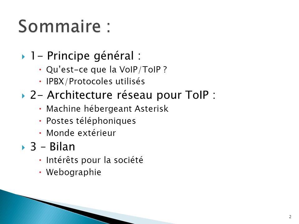 1- Principe général : Quest-ce que la VoIP/ToIP ? IPBX/Protocoles utilisés 2- Architecture réseau pour ToIP : Machine hébergeant Asterisk Postes télép