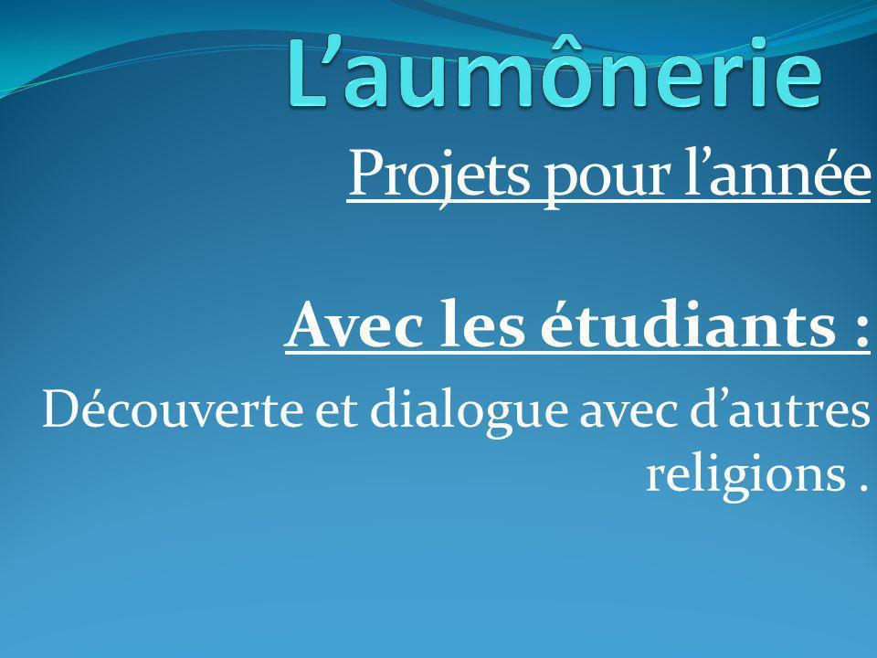 Projets pour lannée Avec les étudiants : Découverte et dialogue avec dautres religions.