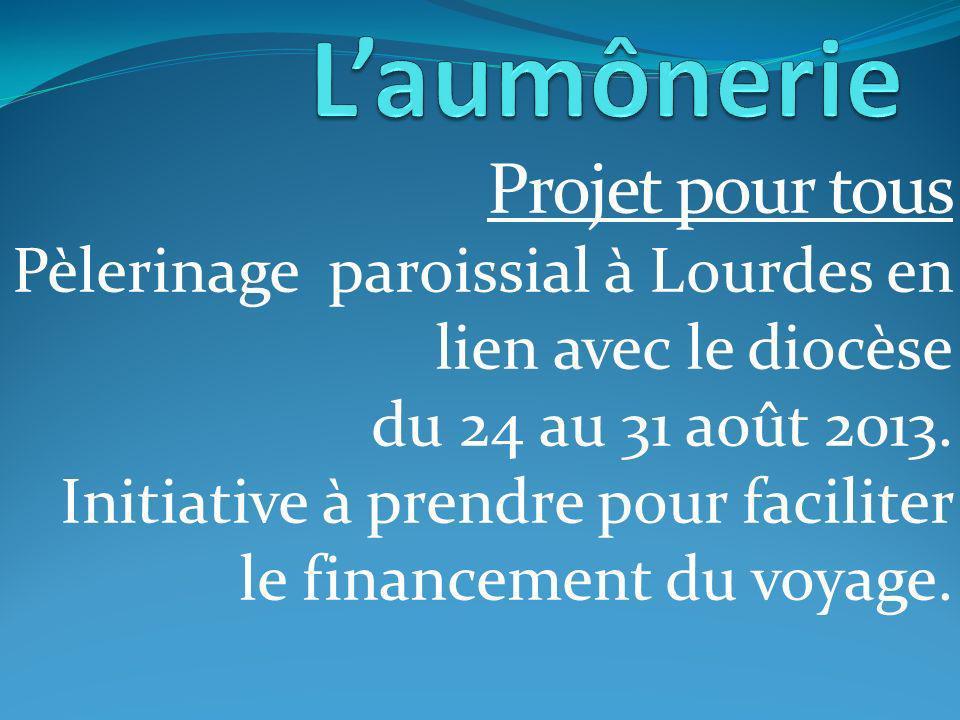 Projet pour tous Pèlerinage paroissial à Lourdes en lien avec le diocèse du 24 au 31 août 2013.