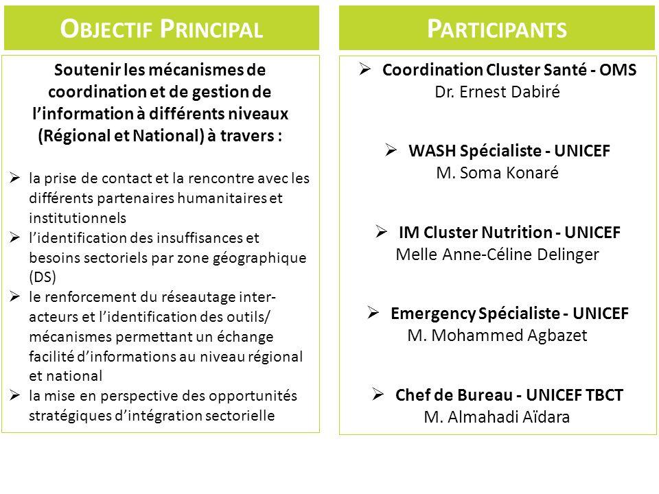 O BJECTIF P RINCIPAL Soutenir les mécanismes de coordination et de gestion de linformation à différents niveaux (Régional et National) à travers : la