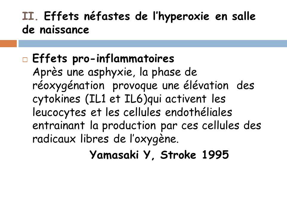 II. Effets néfastes de lhyperoxie en salle de naissance Effets pro-inflammatoires Après une asphyxie, la phase de réoxygénation provoque une élévation