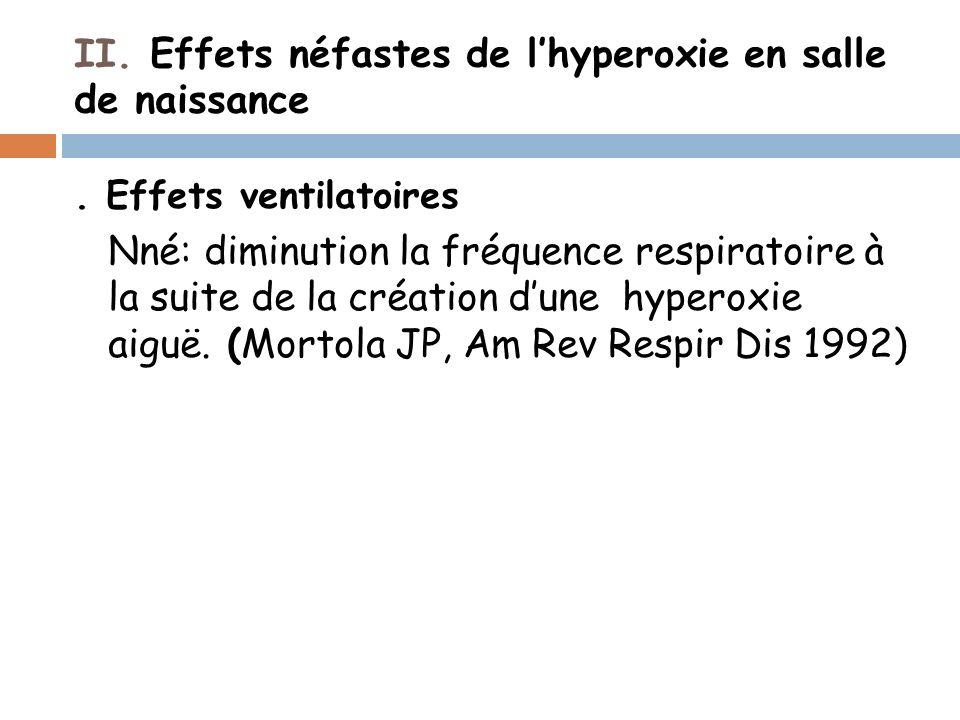 II.Effets néfastes de lhyperoxie en salle de naissance.
