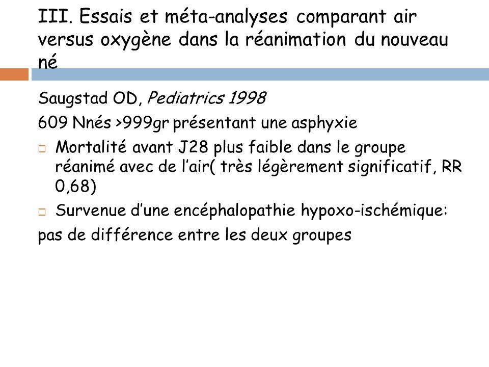 III. Essais et méta-analyses comparant air versus oxygène dans la réanimation du nouveau né Saugstad OD, Pediatrics 1998 609 Nnés >999gr présentant un