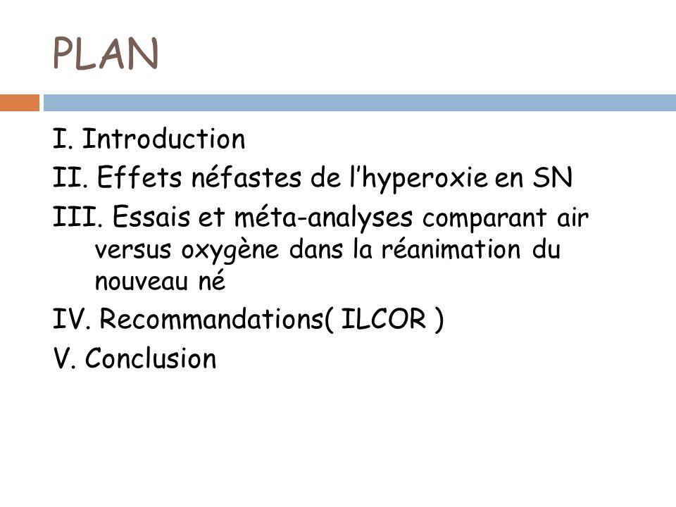 PLAN I. Introduction II. Effets néfastes de lhyperoxie en SN III. Essais et méta-analyses comparant air versus oxygène dans la réanimation du nouveau