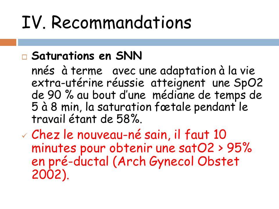 IV. Recommandations Saturations en SNN nnés à terme avec une adaptation à la vie extra-utérine réussie atteignent une SpO2 de 90 % au bout dune médian