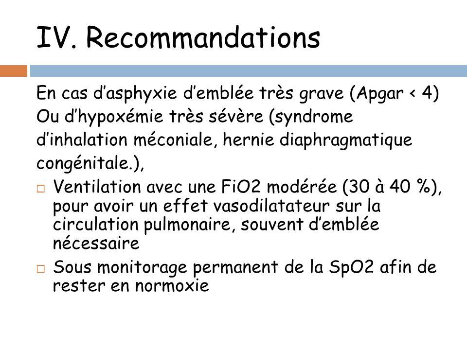 IV. Recommandations En cas dasphyxie demblée très grave (Apgar < 4) Ou dhypoxémie très sévère (syndrome dinhalation méconiale, hernie diaphragmatique