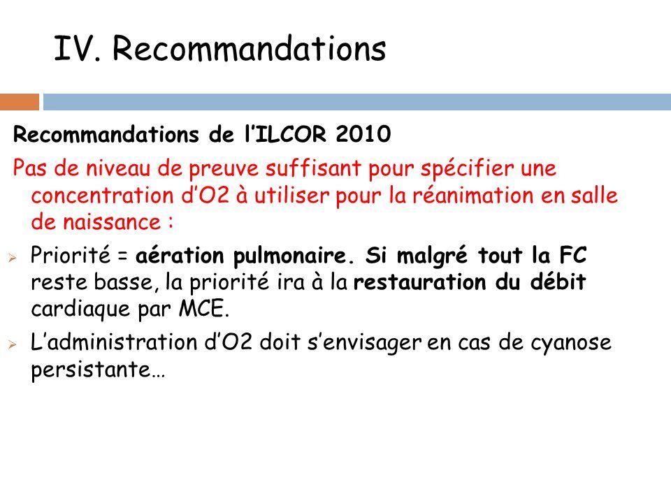 IV. Recommandations Recommandations de lILCOR 2010 Pas de niveau de preuve suffisant pour spécifier une concentration dO2 à utiliser pour la réanimati
