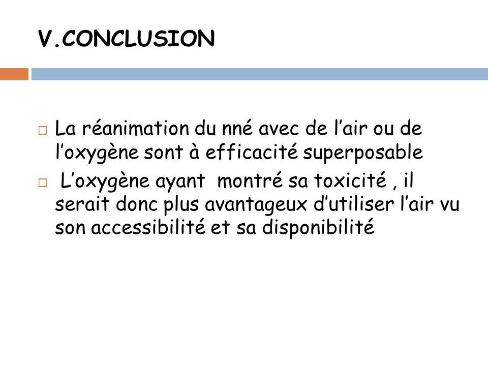 V.CONCLUSION La réanimation du nné avec de lair ou de loxygène sont à efficacité superposable Loxygène ayant montré sa toxicité, il serait donc plus avantageux dutiliser lair vu son accessibilité et sa disponibilité