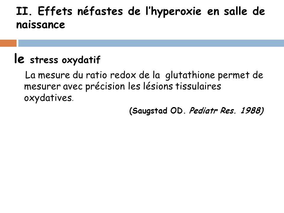 II. Effets néfastes de lhyperoxie en salle de naissance le stress oxydatif La mesure du ratio redox de la glutathione permet de mesurer avec précision