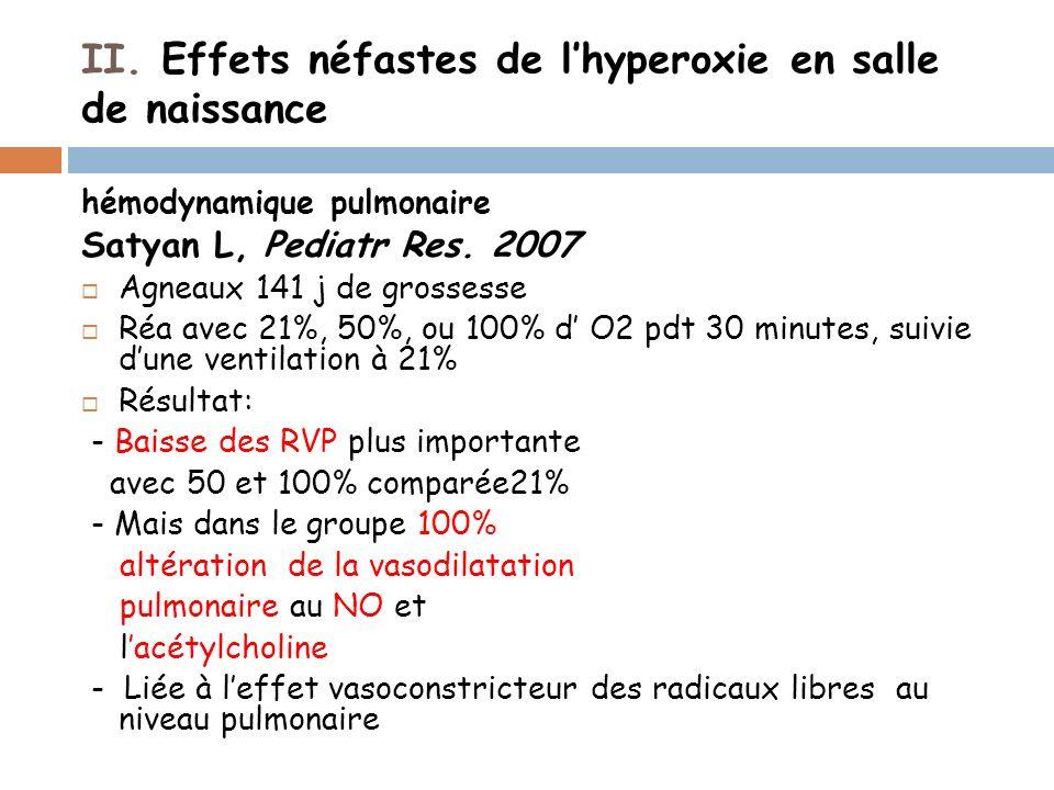 II. Effets néfastes de lhyperoxie en salle de naissance hémodynamique pulmonaire Satyan L, Pediatr Res. 2007 Agneaux 141 j de grossesse Réa avec 21%,