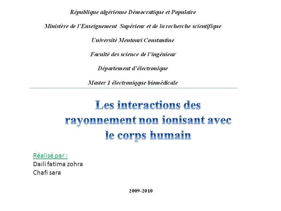 Les interactions des rayonnement non ionisant avec le corps humain