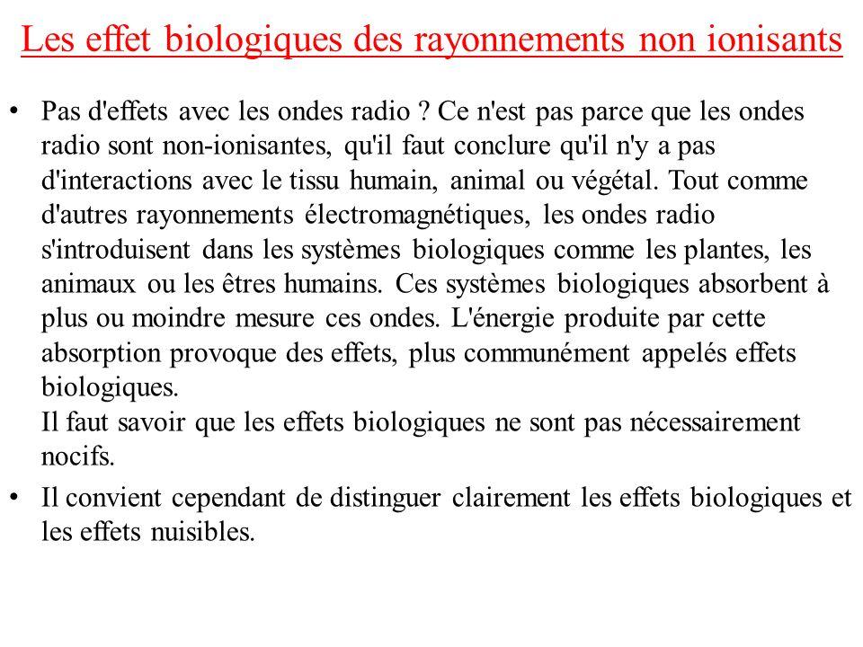 Les effet biologiques des rayonnements non ionisants Pas d'effets avec les ondes radio ? Ce n'est pas parce que les ondes radio sont non-ionisantes, q