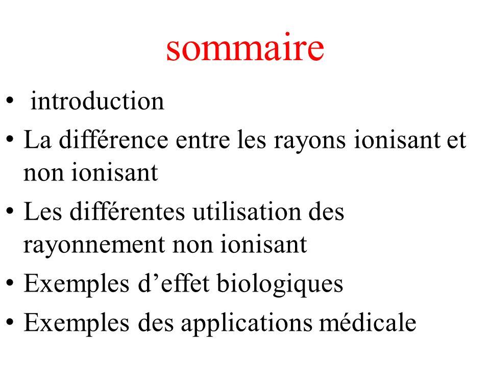 sommaire introduction La différence entre les rayons ionisant et non ionisant Les différentes utilisation des rayonnement non ionisant Exemples deffet biologiques Exemples des applications médicale