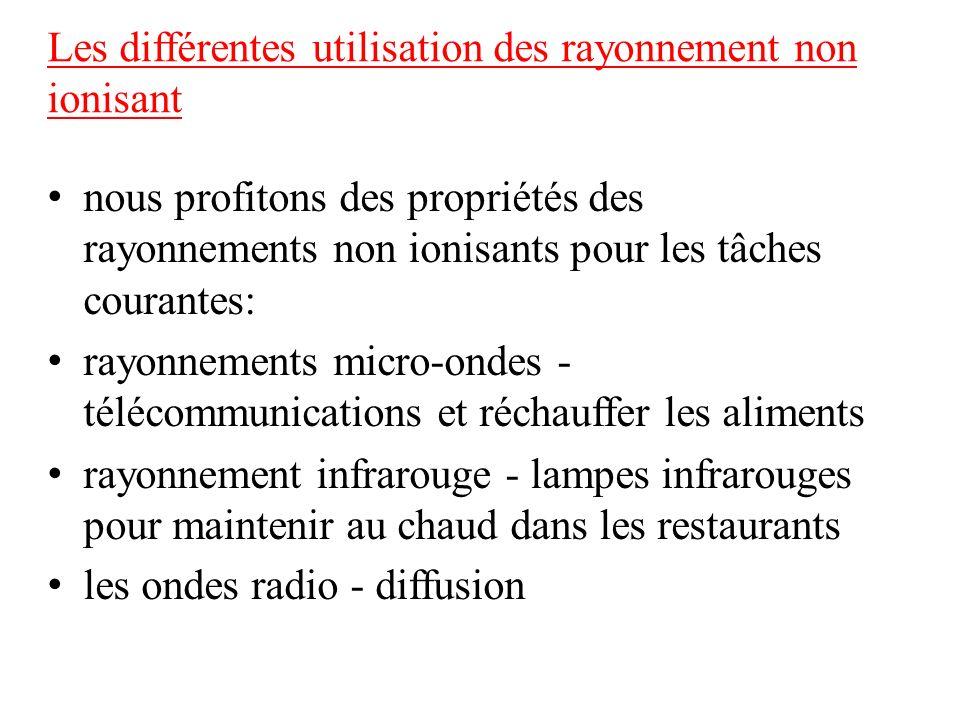 Les différentes utilisation des rayonnement non ionisant nous profitons des propriétés des rayonnements non ionisants pour les tâches courantes: rayon