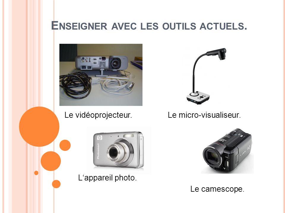 E NSEIGNER AVEC LES OUTILS ACTUELS. Le vidéoprojecteur.Le micro-visualiseur. Lappareil photo. Le camescope.
