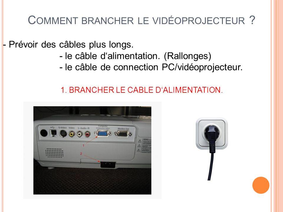 C OMMENT BRANCHER LE VIDÉOPROJECTEUR ? - Prévoir des câbles plus longs. - le câble dalimentation. (Rallonges) - le câble de connection PC/vidéoproject