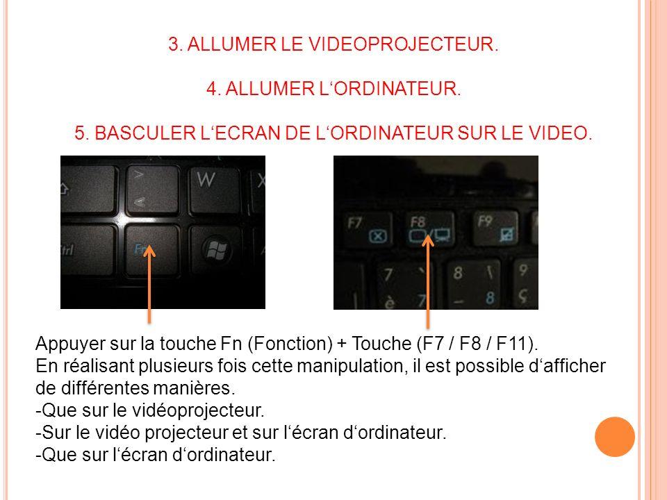 3. ALLUMER LE VIDEOPROJECTEUR. 4. ALLUMER LORDINATEUR. 5. BASCULER LECRAN DE LORDINATEUR SUR LE VIDEO. Appuyer sur la touche Fn (Fonction) + Touche (F