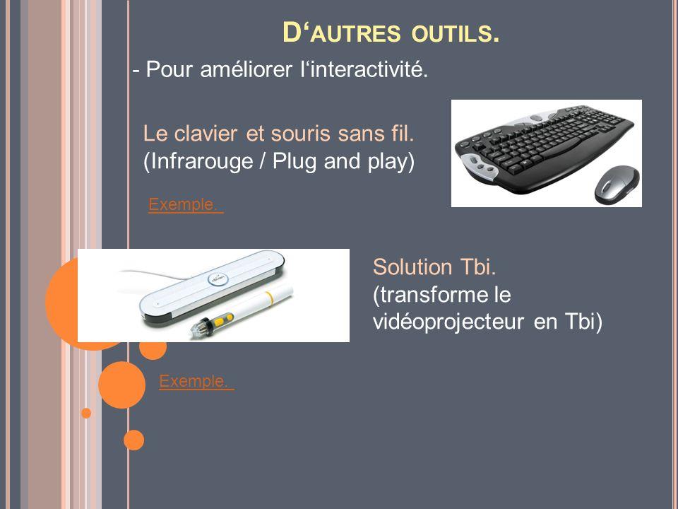 D AUTRES OUTILS. - Pour améliorer linteractivité. Le clavier et souris sans fil. (Infrarouge / Plug and play) Solution Tbi. (transforme le vidéoprojec