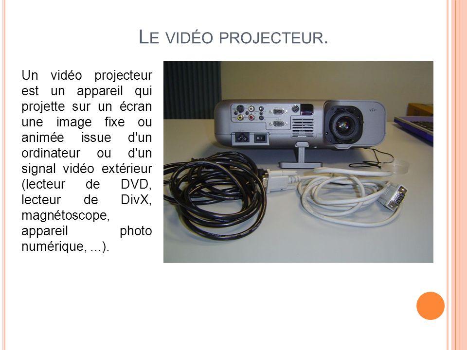 L E VIDÉO PROJECTEUR. Un vidéo projecteur est un appareil qui projette sur un écran une image fixe ou animée issue d'un ordinateur ou d'un signal vidé