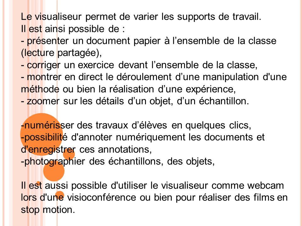 Le visualiseur permet de varier les supports de travail. Il est ainsi possible de : - présenter un document papier à lensemble de la classe (lecture