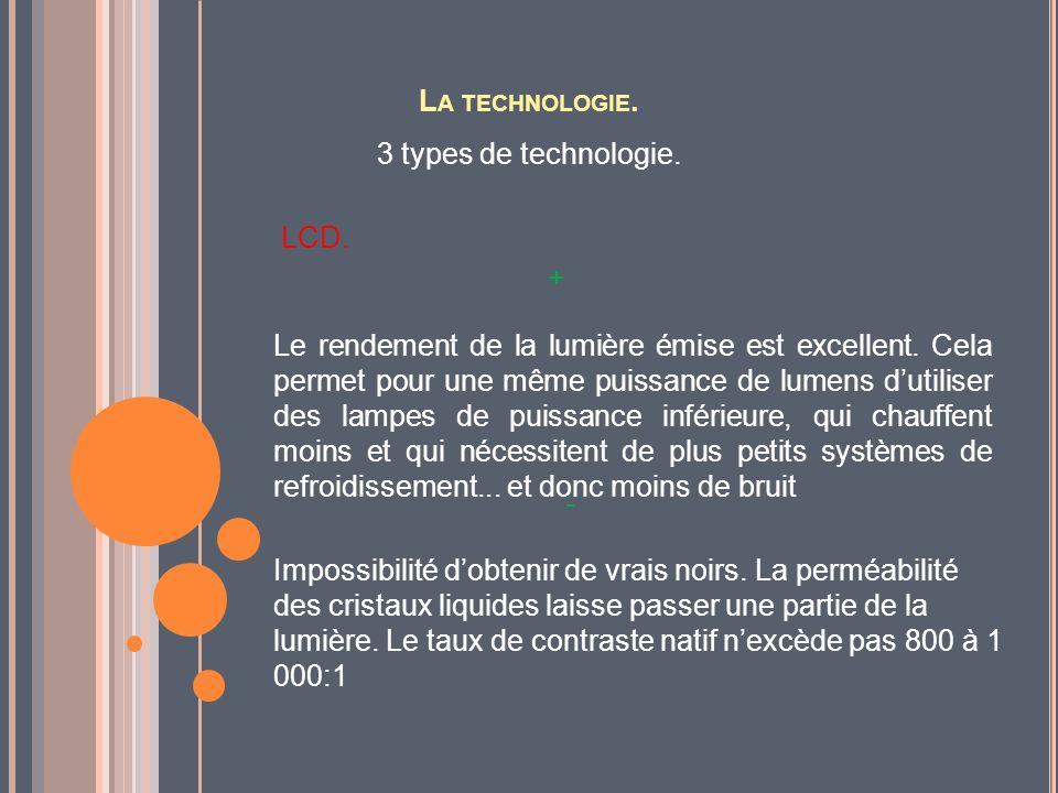 L A TECHNOLOGIE. 3 types de technologie. LCD. Le rendement de la lumière émise est excellent. Cela permet pour une même puissance de lumens dutiliser
